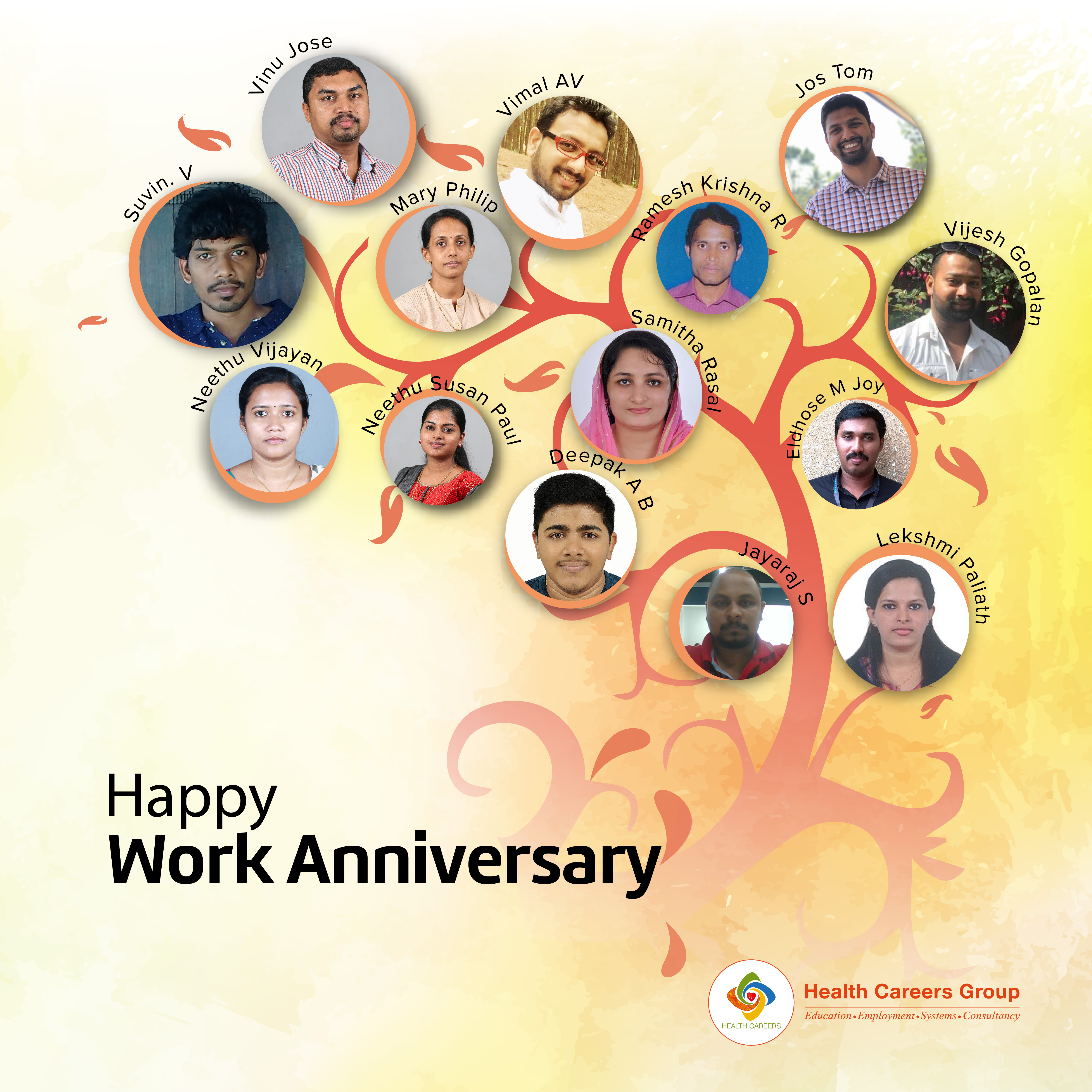 Employees Celebrating Work Anniversary On June