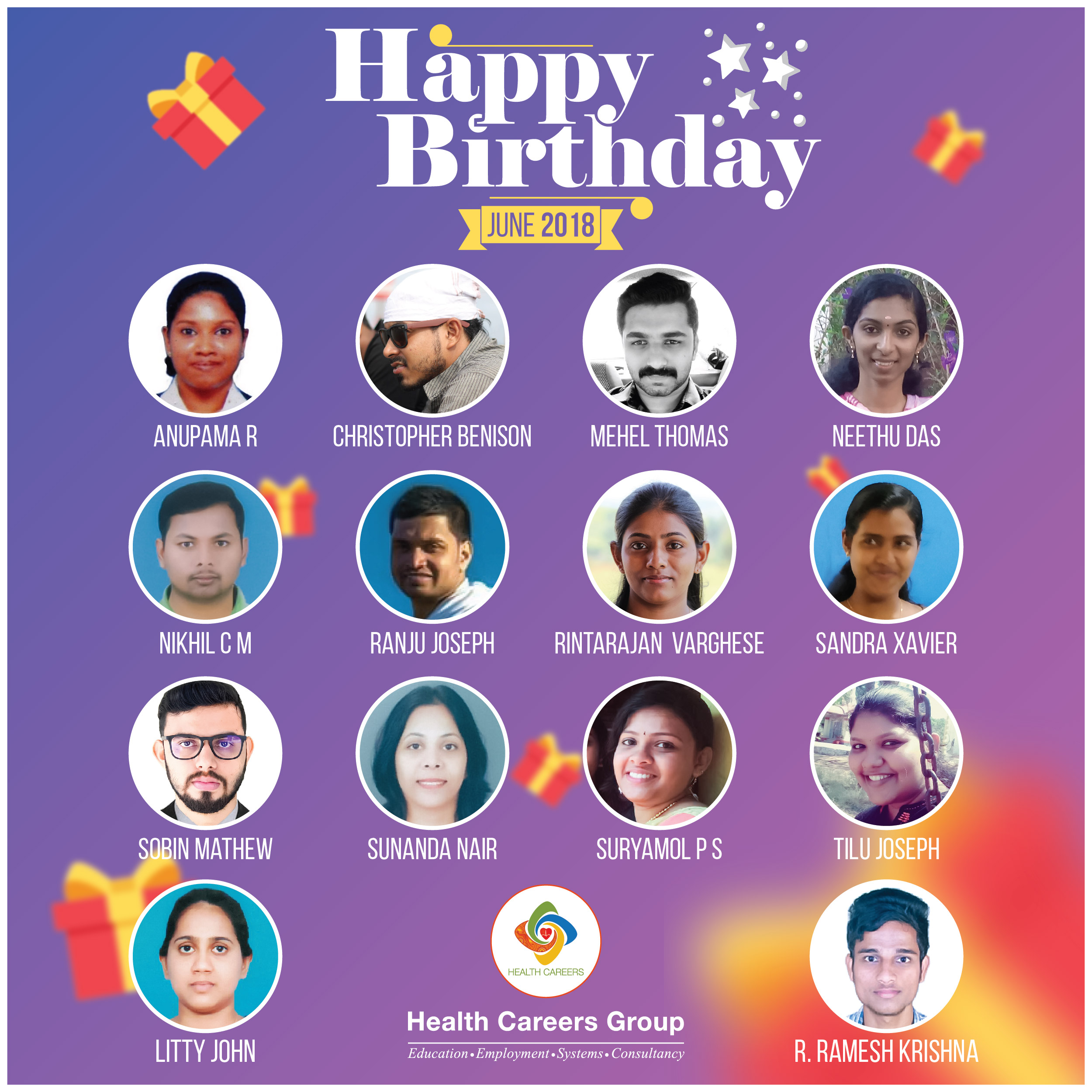 Employees Celebrating Birthday In The Month Of June 2018